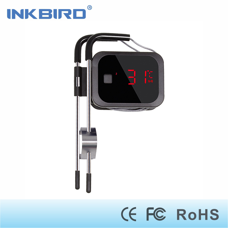 Inkbird Digital Cooking Bluetooth Wireless Grill Meat Oven BBQ Food Thermometer C/F with 2 Stainless Steel Probes and free App<br>