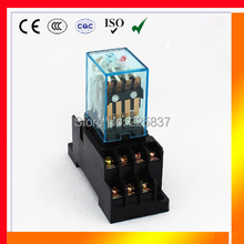 HH54P relay my4 (3set/lot) good quality silver contact my4nj rele 12v 24v 220v ac 48vdc relay 5A 14pins power relay with socket