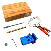 Mini Kreg Style Pocket Hole Jig Kit System For Wood Working & Joinery + Step Drill Bit + Pliers Wood Work Tool Set With Box