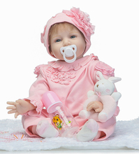 "NPK 22"" reborn babies girl dolls with rabbit rattle child gift fashion silicone baby dolls   bebe real reborn bonecas"