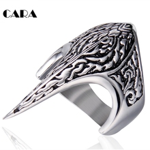 CARA NEW well polished 316L Stainless Steel Personal mens ring decorative stylish sharp pointed punk ring men fashion CARA0449(China)