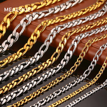 "Meaeguet Gold-color Stainless Steel Chain 4.5mm/6mm/8mm Wide Figaro Chain Necklace For Men Women Necklace - 20""/ 24"""
