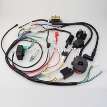 FULL WIRING HARNESS CDI IGNITION COIL KILL KEY SWITCH NGK SPARK PLUG 50 70 90 110 125cc ATV QUAD BIKE BUGGY free shipping