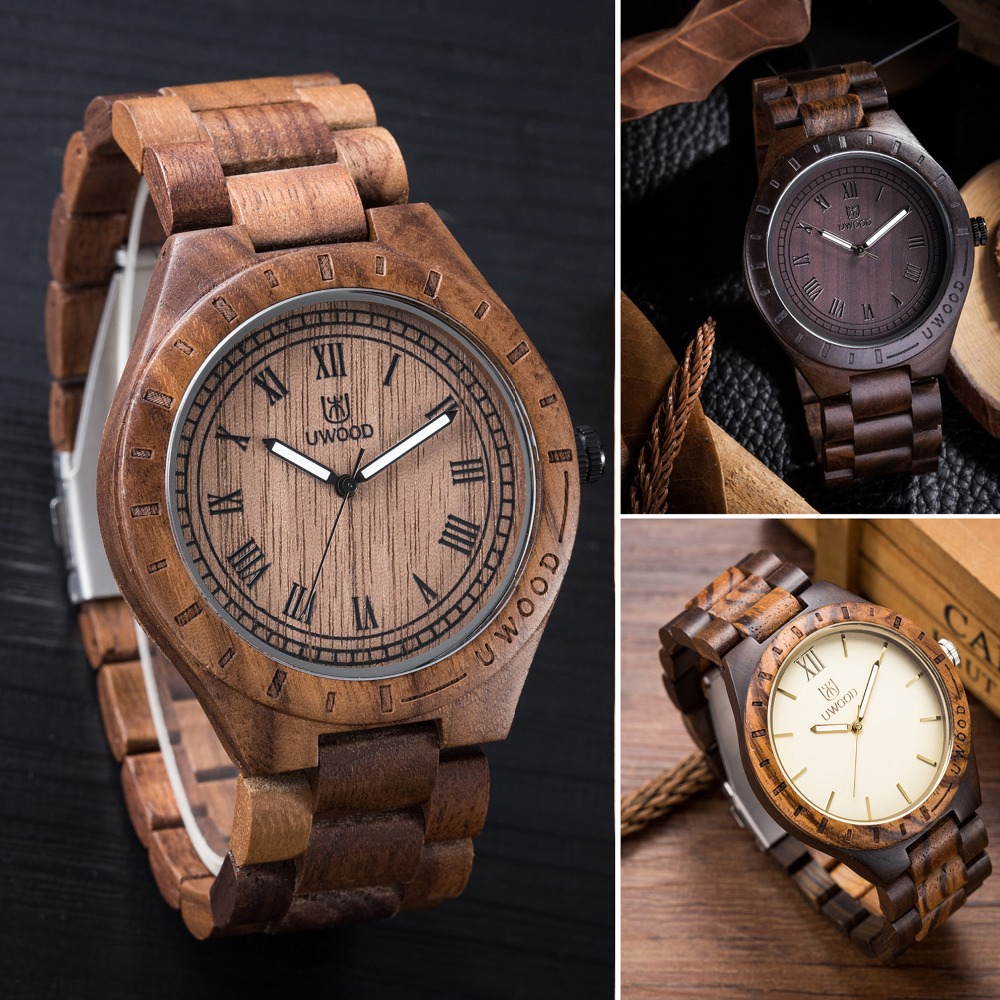 Mens Watches UWOOD Luxury Brand Quartz Watch Casual Bamboo Wood Watch Male Wristwatches Quartz-Watch Relogio Masculino as Gifts<br>