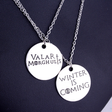 Game of Thrones Pendant Necklace Winter is Coming Valar Morghulis Letter Necklace Metal Alloy Round Jewelry Best Gifts(China)