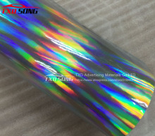 Free shipping Silver  holographic chrome rainbow vinyl film car wrap rainbow sticker with size:1.52x20m/Roll