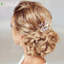 Buy MEIDI Pearl Hair Combs Wedding Hair Accessories Hair Pin Rhinestone Tiara Bridal Clips Romantic Crystal Crown Bride Hair Jewelry for $2.29 in AliExpress store