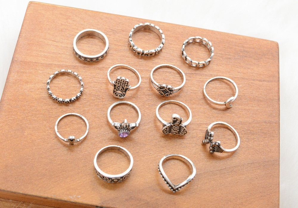 Bague Femme Vintage Rings for Women Boho Geometric Flower Crystal Knuckle Ring Set Bohemian Midi Finger Jewelry Silver Color 41