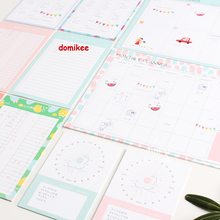 Cute cartoon school student desk agenda pads/memo pad stationery: shipping list,weekly monthly planner,time organizer A4A5A6