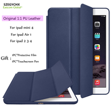 SZEGYCHX Original 1:1 Ultra Slim Smart Case Cover For iPad 234/Air1/Mini 4 PU Leather Tablet Folding Folio Cases Auto Wake/Sleep