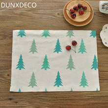 DUNXDECO PC 40x30cm Nordic Forest Green Pine Plants Flowers Linen Cotton Table Bow Cup Placemat Bar Store Decoration Photo Prop