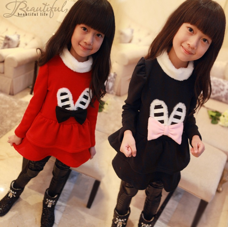 Free shipping winter new female childrens clothing bow plush rabbit ears on behalf of thick long-sleeved dress<br>