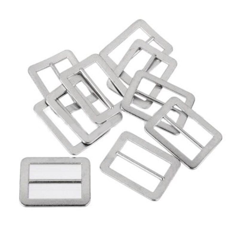 10pcs Adjustable Zinc Alloy Tri-glide Buckles 25mm Webbing Slider Silver For Backpack Straps
