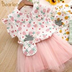 Bear leader/комплекты одежды для девочек, лето 2019, милая рубашка принцессы для девочек с клубничкой + газовое платье, 2 предмета, детская одежда с а...