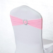 100 Heart Spandex Wedding Chair Cover Sash Bands Purple Gold Rose Tiffany Pink Chair Sashes For Wedding Party Banquet Decor