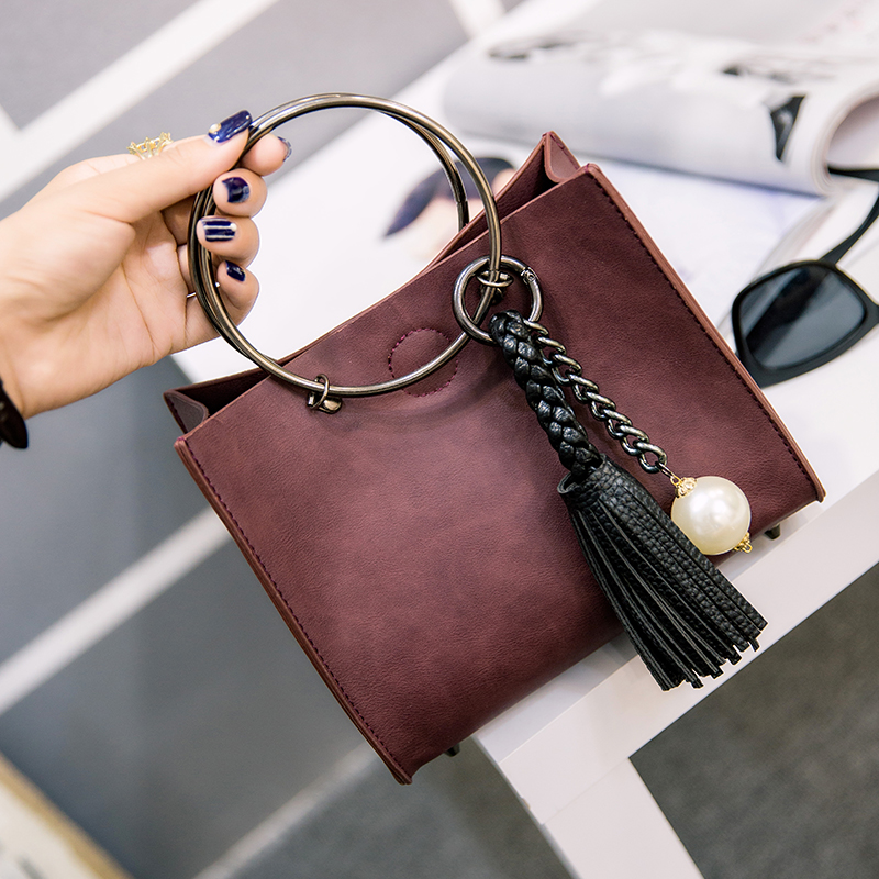 Hot Round Ring Handle Bag,Pearl Rivet Decoration Fashion Women Leather Handbag Classic Double Flap Bag Composite Leather Handtas<br><br>Aliexpress