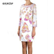 Ladies' Famous Italian Brands White butterfly flower Print Square Collar 3/4 Sleeves Jersey Silk Dress Loose Casual Dress,XXL