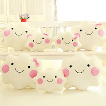Super Soft Smiley Face Bow Cloud Cotton Throw Pillow Lovely Plush Toy Home Decorative Cushion Office Relax Cushion Lover Gift