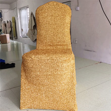 Golden Chair covers, Elastic Banquet Hotel Wedding Chair Covers, sprinkle dotted silver chair set cushions