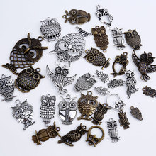Vintage Metal Mixed Owl Charms for Jewelry Making DIY Handmade DIY Handmade Crafts Animal Owl Pendant Charms 15pcs/lot C5190(China)