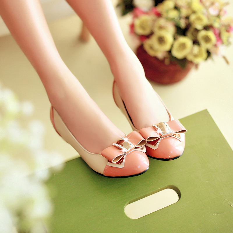 Big Size 11 12 Bowknot is han edition soft bottom new spring joker single female shallow mouth doug women shoes with flat shoes<br><br>Aliexpress