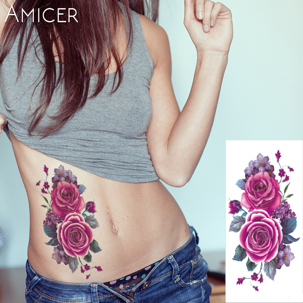 3D lifelike Cherry blossoms rose big flowers Waterproof Temporary tattoos women flash tattoo arm shoulder tattoo stickers 16