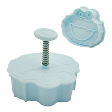 New 4 pcs/set 3D Sesame Street Fondant Cookie Cutter Biscuit Hand Stamp Press Plunger Mould Useful Baking Tool