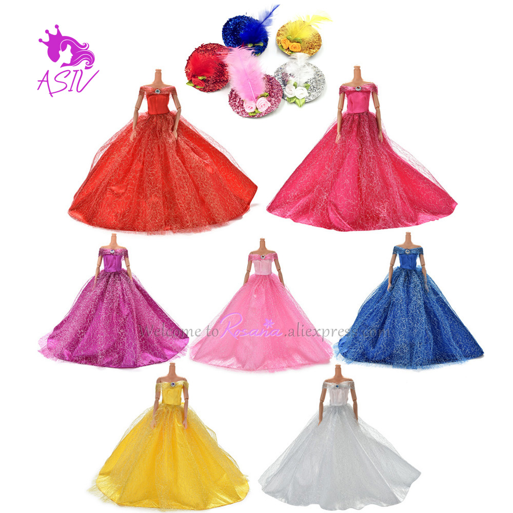 Rosana 7 Colors Barbie Hat Dress Handmake Wedding Princess Dress for Barbie Dolls Elegant Clothing Gown For Barbie Doll With Hat(China)