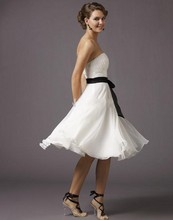 Cheap Knee Length Bridesmaid Dresses Strapless Black Sashes A Line White Chiffon Wedding Party Gowns