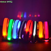 7Colors Nylon Night Safety LED Dogs Collar Lights Flashing Glow Pet Supplies Dog Cat Leash(China)
