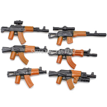 6pcs/set Military Series 2.8cm AK Weapons Bricks Parts For Army Police SWAT Block Gun Building Blocks Models Toys