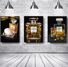3 Pcs Unframed Canvas Painting Famous Brand Perfume Printed On Canvas Wall Art Modular Pictures Wall Pictures For Living Room(China)