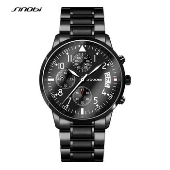 SINOBI Sport Chronographe Hommes de Pilotes Poignet Montres En Acier Noir Bracelet Top Marque De Luxe Hommes Horloge À Quartz Garçon Montre-Bracelet
