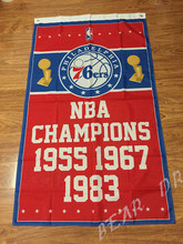 NBA Philadelphia 76ers flag 3ftx5ft Banner 100D Polyester Flag metal Grommets(China)