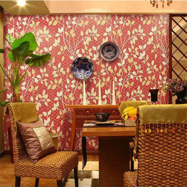 Chinese Style Gold Foil 3D Mosaic Wallpapers papel de parede Modern Red Background Gold Leaf Tv Wall Paper For Living Room Study<br>