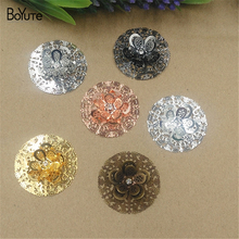 BoYuTe 10Pcs 35MM Brass Filigree Flower Pendant 6 Colors Etched Sheet Diy Pendant Charms for Necklace Jewelry Making