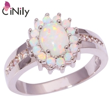 CiNily Created White Fire Opal Cubic Zirconia Silver Plated Wholesale for Women Jewelry Wedding Ring Size 6-10 OJ6609(China)