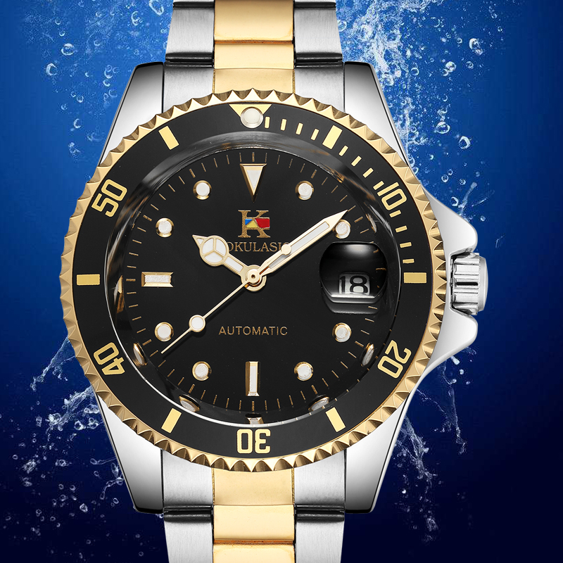 AOKULASIC 2018 Top Luxury Brand New Fashion Dazzling Eye-catching Color Full Steel Automatic Machine Mens Waterproof Watch <br>