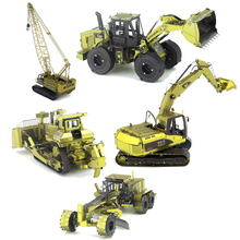 Colorful Machineshop Truck 3D Metal Puzzle Crane Truck Puzzles DIY 3D Metal Jigsaw Military Toys Farm Machinery Adult Toys