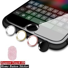 Aluminum Touch ID Home Button Sticker for iPhone 5s 5 SE 4 6 6s 7 Plus iPad Apple Phone Stickers with Fingerprint Identification