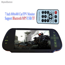 Bluetooth / MP5 / TF / USB 800x480 LCD Car / FPV Rear view Mirror Monitor 7 inch screen for Camera PAL/NTSC (car or truck / Bus)