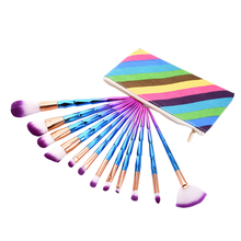 12Pcs/set Rainbow Makeup Brushes with Make Up Bag Blending Brush Cleaner Blusher Fiber Soft Hair Brush Sets Cosmetic Package