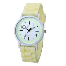 Female watches 2017 Roman Numerals colorful Silicone Jelly Gel Quartz Analog Watch dropping #0725(China)