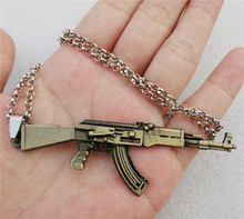50cm Link Chain Metal Alloy Hot Game JS Cross Fire Weapon AK47 Gun Pendant Necklace Jewelry Gift