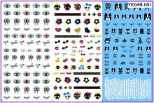 3 PACK/ LOT WATER TRANSFER DECAL NAIL ART NAIL STICKER CARTOON DOG HEAD HALLOWEEN SKULL EYES YE49-51