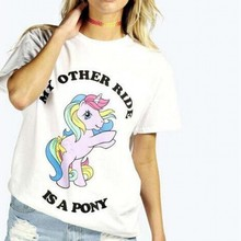 2017 Summer new cute cartoon pony print women shirt casual O neck short sleeve letters blouse tops#Q869
