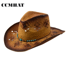 2017 Fashion Hollow Adult Cowboy Hats High Quality Paper Men's Straw Hats Grade Turquoise Decoration Women's Cowboy Hats Caps