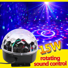 RGB led Stage Effect Light Crystal Auto Sound Magic Ball Disco Lighting laser Projector party DJ club elf Lamp Digital(China)