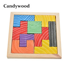 Candywood Mini Wooden Tetris Game Montessori Tangram Brain Teaser Puzzle for Baby Kid Toys Educational 3D Jigsaw Puzzles