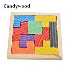 Candywood Mini Wooden Tetris Game Montessori Tangram Brain Teaser Puzzle for Baby Kid Toys Educational 3D Jigsaw Puzzles(China)